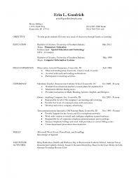 Sample Teacher Resume Elementary School Career Objective Sp Sevte