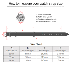 Watch Band Width Size Chart Us 13 15 29 Off Eache High Quality Vintage Genuine Leather Zulu Watch Straps Watchband For Military Watch 20mm 22mm 24mm Brush Buckle In Watchbands