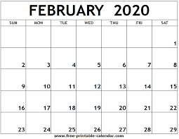 February 2020 Calendar Template Printable February 2020 Printable Calendar Free Printable Calendar Com