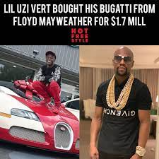 And we're told it's the same car floyd got before his 2017. According To Tmz Uzi Bought Floyd Mayweather S Old Bugatti For 1 7 Million And Paid 20 000 To Have It Delivered To La Fast Floyd Originally Bought It For 3 3 Million Liluzivert