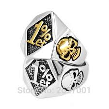 whole one percent 1 er skull biker ring snless steel jewelry silver gold fashion skull