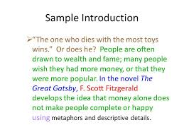 "writing the literary analysis essay ppt video online  5 sample introduction ""the"