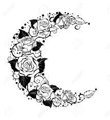神秘的な月では黒い茎と白い背景の輪郭のバラを描かれています バラ