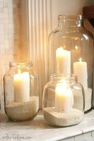 Candles & rice in old jars via: Life in the Fun Lane