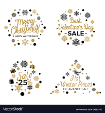 Christmas And Valentines Winter Sale Signs Poster Vector Image