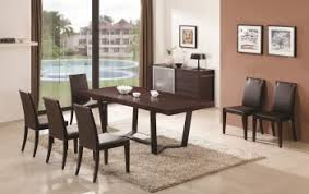 extendable wooden top and leather chairs modern dining set with leaf
