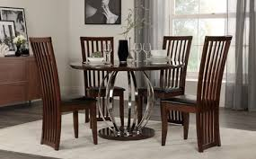 savoy round walnut high gloss and chrome dining table with 4 adelphi chairs brown