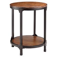 round two tiers wood and metal side table with high shelf for decorative items beautiful