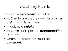 teaching points this is an exothermic reaction