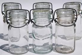 glass wire bail lid spice or herbs jars small clear glass canister bottles set of six