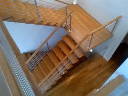 Open Rise ESTN Oak Stairs, Floating Landing, ZX Series Stainless Steel  Railing contemporary-