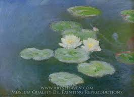 claude monet water lilies evening effect oil painting reion