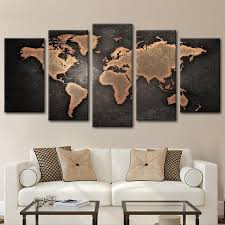 copper world map multi panel canvas wall art on world map wall art with photo frames with copper world map multi panel canvas wall art elephantstock