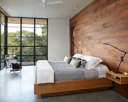 Bedroom: Cool Modern Bedroom With Wood Panel Wall - Wooden Bedrooms