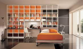 orange home office. Charming Home Library Ideas With Large Open Shelves In Orange Yellow Bedroom Office H
