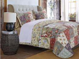 Country Cottage Cotton Floral Patchwork Quilt Shams Set | Luxury ... & ... Country Cottage Patchwork Cotton Quilt Set Adamdwight.com