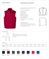 Port Authority Fleece Jacket Size Chart Port Authority F219 Value Fleece Vest