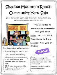 Community Yard Sale Shadow Mountain Ranch Home Owners
