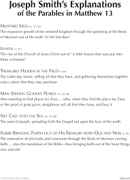 9 8 Joseph Smiths Explanations Of Parables In Matthew 13