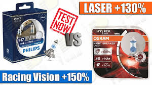 OSRAM NIGHT BREAKER LASER +130% vs <b>PHILIPS RACING</b> ...