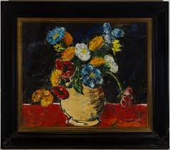 Hilary Shaw - Framed Early 20th Century Oil, Flowers in a Vase