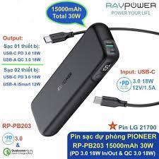 Pin sạc dự phòng RAVPOWER RP-PB203 Pioneer 15000mAh 30W (PD 3.0/ QC 3.0 18W  & iSmart 12W)