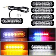 Yellow Light Bars For Trucks Details About 4 Amber 12 Led Car Truck Emergency Beacon Warning Hazard Flash Strobe Light Bar