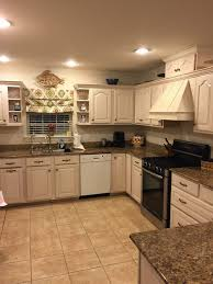 gray with cream cabinets