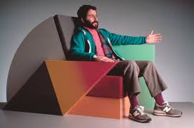 peter shire with bone air chair 1985 image courtesy of the artist