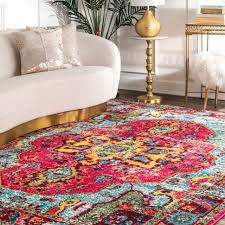 nuloom traditional vintage distressed area rug in multi pink yellow blue for