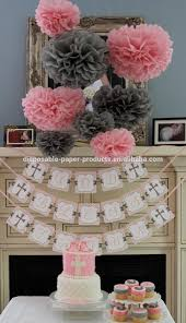Pom Pom Decorations Pink Theme Party Ideas Tissue Paper Pom Poms Honeycomb Balls Paper