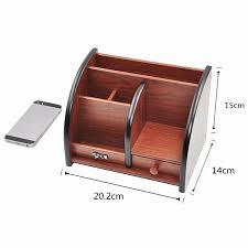wooden high grade multifunctional desk stationery organizer storage box pen pencil box jewelry makeup holder case brown