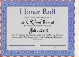 Ideas Of High School Honor Roll Certificate Template About Honor