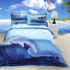 3d bedding blue sea wave pattern queen size bedding set 3d bed linen home textile bedclothes
