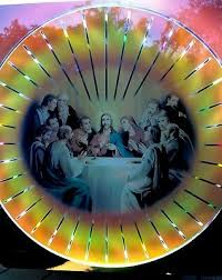 christ last supper lighted wall