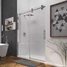 ove decors sydney 56 in to 59 5 in w frameless satin nickel sliding shower