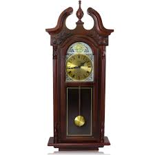 bedford clock collection 38 in grand antique cherry oak chiming wall clock 98597057m the home depot