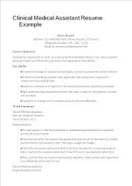 Example Of Medical Assistant Resume Clinical Medical Assistant Resume Templates At