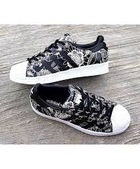 adidas shoes superstar black and white. adidas originals superstar print floral shoes black and white