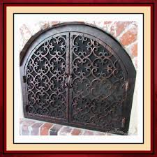 iron fireplace screen. Arched Wrought Iron Fireplace Screen Door C