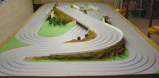 ho slot car racing routed wooden track flying cow 1 32 scale raceway 8x20