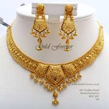 Latest Gold Sets Designs In India 22 Carat Indian Gold Necklace Set 35 8 Grams Code Ns1030