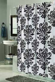 fabric shower curtain beacon hill black white ez on no hooks needed