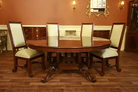 trendy round mahogany dining table formal furniture walnut base room suite solid hardwood black and chairs sets with glass italian the leaf broyhill antique