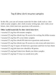 Sample Letter To Dmv Top 8 Dmv Clerk Resume Samples