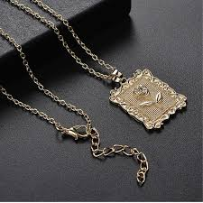 Women <b>Fashion Geometry</b> Square Rose Necklace Clavicle Chain ...