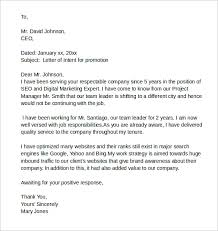 Sample Letter of intent for promotion