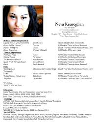 Musical Theatre Resume Free Resume Example And Writing Download