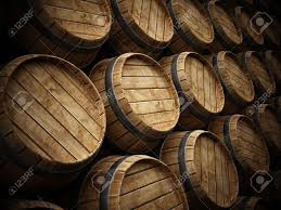 stack wine barrels. Stock Photo - Wine Cellar With Stack Of Wooden Barrels