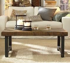 reclaimed wood top iron legs coffee table